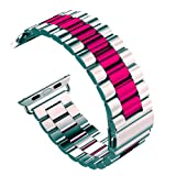 U191U Band Compatible with Apple Watch 42mm Stainless Steel Wristband Metal Buckle Clasp iWatch Strap Replacement Bracelet for Apple Watch Series 3/2/1 Sports Edition (Silver/Wine Red, 42MM) (Color: Silver/Wine Red, Tamaño: 42 mm)