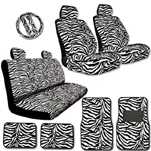 New Premium Grade 15 Pieces Zebra Print Low Back Front Car Seat, Rear Bench Cover with Head Rest Cover and 4 Pieces Floor Mats Set