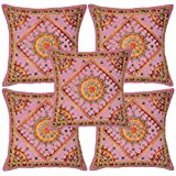 Traditional Mirror Work Embriodery Cotton Pillow Covers 16 Inches 5 Pcs - B00L7SVEOU