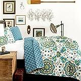 Lush Decor 3-Piece Adding Ton Quilt Set, King, Green/Blue