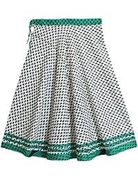 DollsofIndia Black Print On White Cotton Long Skirt - Length 39 Inches - White, Black