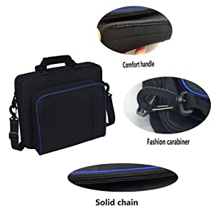 Travel Carrying Case PS4, Popmall Multifunctional Travel Storage Carry Case Protective Shoulder Bag PlayStation4 PS4 Slim System Console Accessories (Color: black, Tamaño: PS4 travel case)