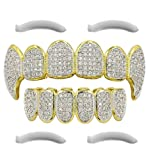 24K Gold Plated Iced Out Grillz With Micropave CZ Diamonds And Fangs + 2 EXTRA Molding Bars