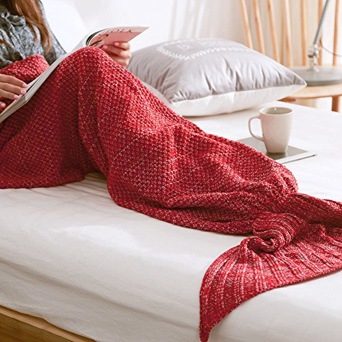 handmade-knitted-mermaid-tail-blanket-warm-soft-flexible-stretchable-living-room-bed-room-leisure-bl