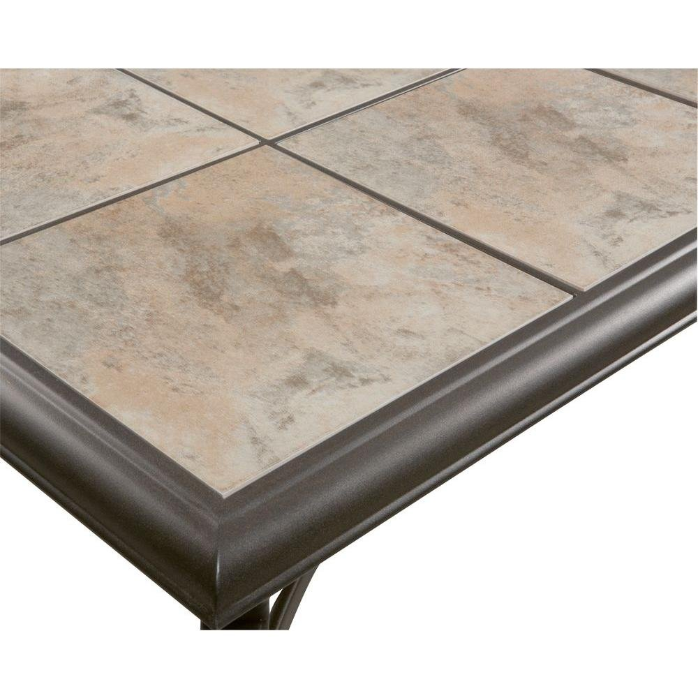 Belleville FTS80721 Ceramic Tile Top Outdoor Patio Rectangular Coffee Table, UV Weather Resistant Durable Steel Construction Frame, Brown Finish 1