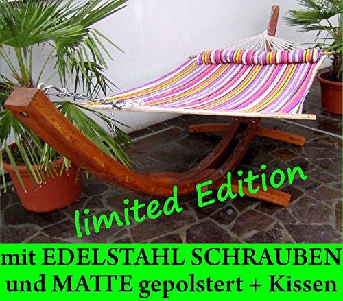 XXL Luxus Holz 410cm Hängemattengestell mit Hängematte LIMITED EDITION (EDELSTAHL – GEPOLSTERT – GEÖLT) Holz Lärche geölt von AS-S