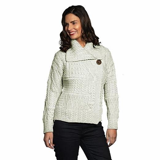 100% Irish Merino Wool Draped Collar One Button Ladies Aran Sweater