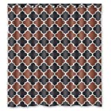 img - for Brown Black White Moroccan Trellis Latticework Shower Curtain Polyester Waterproof 66 book / textbook / text book