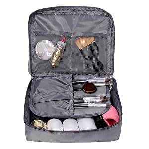 Travel Toiletry Bag, Waterproof Cosmetic Make up Organizer Makeup Brushes Holder Bag Pouch Portable Case for Women and Girls