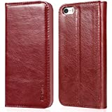 iPhone 5 & 5s Case, Benuo [Vintage Book Series] - Handmade 100% Genuine Leather Case with Stand & 1 Card Slot (Red, Basic Cover)