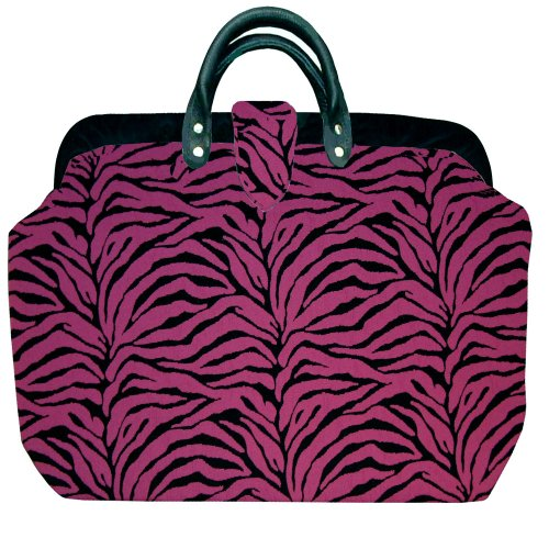 ArtisanStreet's Fuchsia Zebra Abstract Tapestry Carpet Bag with Matching Shoulder Strap. Includes Outside Envelope Pocket at Back. Limited Edition. Use as Overnight Bag or Even as a Briefcase