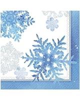Lot de 16 serviettes de tables - Flocons de neiges