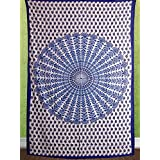 HANDICRAFTOFPINKCITY Indian Traditional Mandala Printed Tapestry Wall Hanging Cotton Bed Sheet Jaipur Tapestry