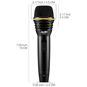 Moukey Dynamic Karaoke Microphone Wired Metal Handheld Mic For Singing/Speech/Stage/Karaoke Machine/Event Includes 16.40 ft XLR to 1/4 Cable - (MWm-2