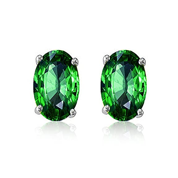 Mahi 92.5 Elegant Silver Green Elegant Oval Made with Swarovski Zirconia Stud Earrings for Women ER3102003Gre at amazon