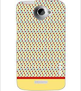 PrintDhaba I Love You Pattern D-1916 Back Case Cover for HTC ONE X (Multi-Coloured)