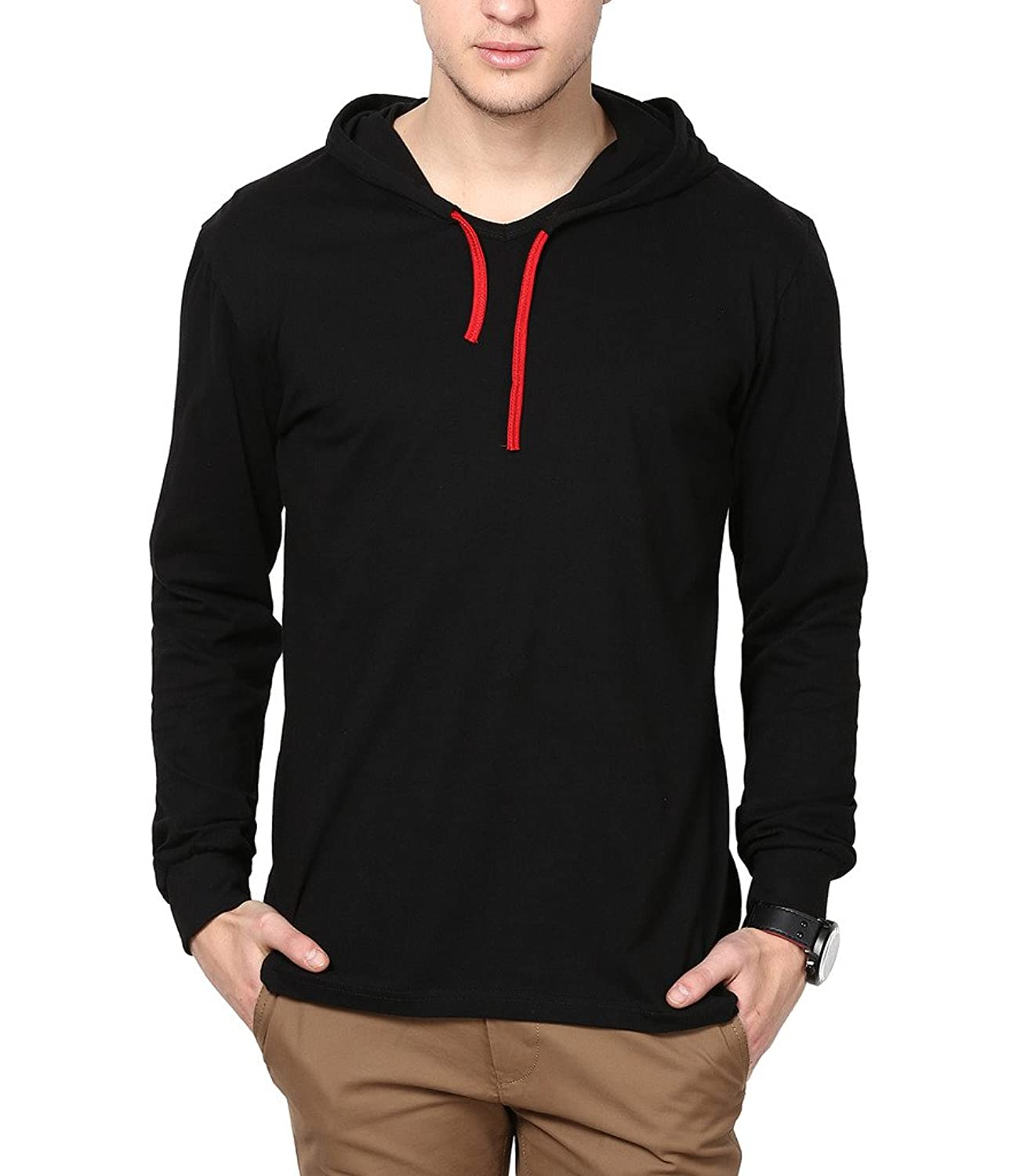 Black t shirt photo - Inkovy Full Sleeve Men S Cotton Hooded T Shirt Amazon In Clothing Accessories