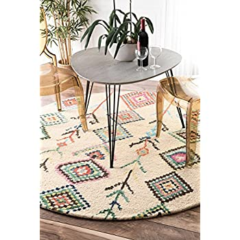 Contemporary Hand Tufted Wool Moroccan Triangle Round Area Rug