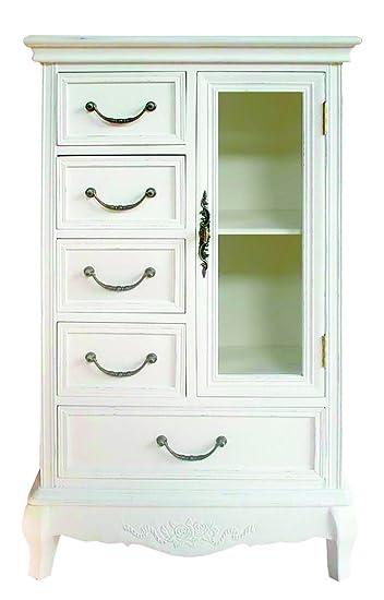 Cómoda con puerta de cristal y cinco cajones de un armario de estilo shabby chic de registro, New