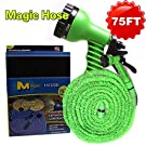 Vere Gloria Garden Hose 75 Feet Green, Expanding Expandable, Multi-function, Water Garden, Plants, Grass, Floor Cleaning, Auto, Car, RV, Boat, Dock, Spring, Holiday, Mother's Day Gift, No Kinking, Flexible, Lightweight, No Tangle, Twist, 7 In 1 Sprayer Gun Included, Pocket Hose, Flex-Able Hose, Magic Hose, Shrinking Hose, DAP Xhose, Flexable Hose, Expands to 3 Times its Original Length
