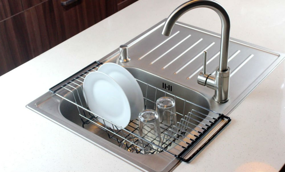 Dish drainer rack over sink holder drying kitchen organizer stainless steel ebay - Kitchen sink drying rack ...