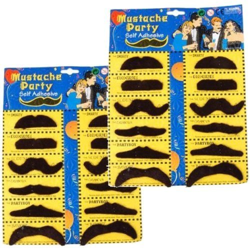 2 Self Adhesive Set 12 Fake Mustaches Costume Party Disguise for Masquerade Party & Performance - 1