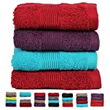 Casa Basics 450 GSM Premium Quick Dry 4 Pcs Hand Towels Set- Red,Purple & Blue