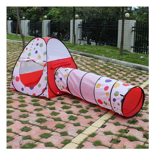 Image® Kids Playing Hut House Dots Pop Up Tent And Crawl Tunnel Set front-6963