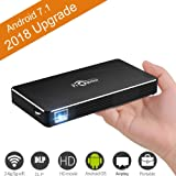 Mini Portable Projector [2018 Upgarde] Smart Android 7.1 DLP Video Projector Max Throw 120