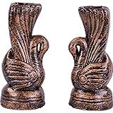 Gopal Gobinda Pataries Earthenware Flower Vase (8 Cm X 6 Cm X 18 Cm, Gold, Pack Of 2)