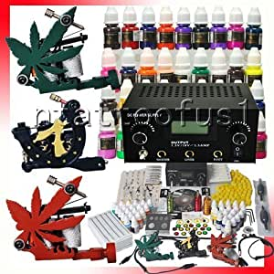 Professional 3 Tattoo Gun Tattoo Kit with Tattoo Power Supply/40 Colors Tattoo Ink/Tattoo Needles/3 Tattoo Machine/other Tattoo Supplies MGT4