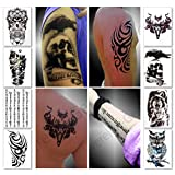 Temporary Tattoos for Guys, Boys, Men - 8 Sheets Tough Macho Fashion Designs for Arms Shoulders Chest & Back - Premium Waterproof & Long Lasting Transfers - Fake Body Art Stickers (Mars Collection)