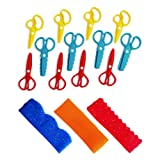Colorations Plastic Fun Dough Scissors for Texture, Set of 12, 3 Designs, Easy Clean, Safe, Arts & Crafts, Sculpting, Clay, for Kids, Durable