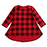 Bamboogrow Lovely Baby Kids Girl Dress Plaids Checked Party Princess Formal Dresses Tutu (2-3Years) (Color: Red, Tamaño: 2-3 Years)