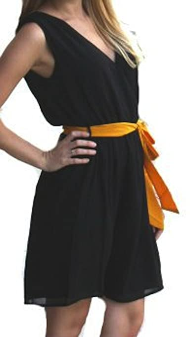Hot Girls Clothing & Accessories :Gorgeous Fashion Spy Classic Little Black Dress with Fun Mustard Yellow Tie