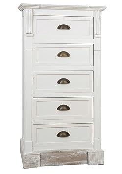 Clayre & Eef 5H0132 armario cajones cómoda blanco 53 x 37 x 101 cm aprox