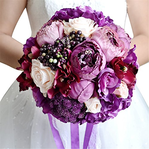 Zebratown 9'' Artificial Roses Bunch Flower Purple Amethyst Rose Wedding Bouquet Party Home Decor (Purple charm)