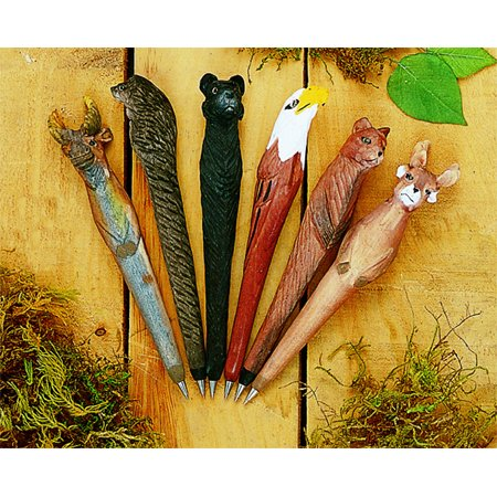 Collectible 6pc Wooden Wild Life Pen Set