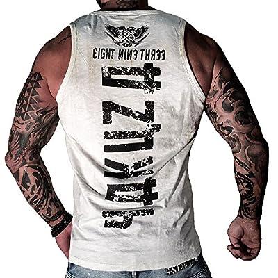 Yakuza Herren Muscle-Shirt Tank Top klassisch Round Neck Logo UHB 654 weiss
