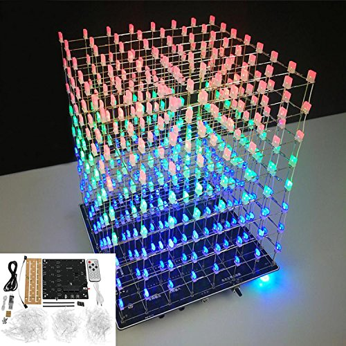 DIY WIFI APP 8x8x8 3D Light Cube Kit Red Blue Green LED MP3 Music Spectrum Electronic Kit No Housing - Arduino Compatible Kits & DIY Kits