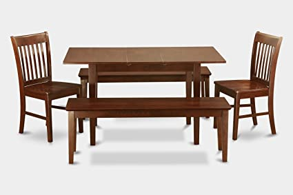 East West Furniture NOFK5C-MAH-W 5-Piece Kitchen Table Set with Bench
