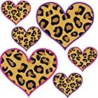 Set of 20 - 2 and 4 Leopard Print Heart Hot Pink and Purple Outline Shape - Reusable Wall Decal Stickers - [Easy Peel and Stick