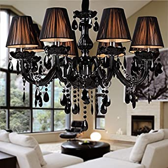 Lightinthebox Chandelier Luxury Modern Black Crystal Living 8 Lights Home Ce