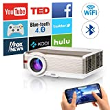 WiFi Bluetooth HDMI Projector 5000Lumens Wireless LED LCD Home Multimedia Video Proyector Support Full HD 1080P 720p Wuxga Built-in Speaker Compatible with Fire TV Stick PS4 PC Smartphone Movie Gaming (Color: 5000 Lumens HD Projector Wireless WiFi Bluetooth)