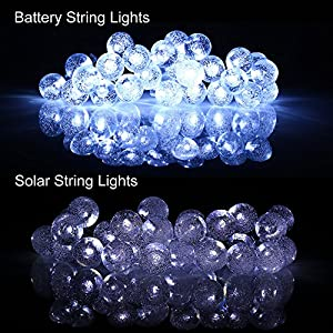 [Battery Included]Battery Operated(Powered)String Lights with Timer,easyDecor 8 Modes 30 LED 21 ft White Waterproof Decorative Christmas Globe for Outdoor,Party,Garden,Holiday,Wedding,patio,Halloween