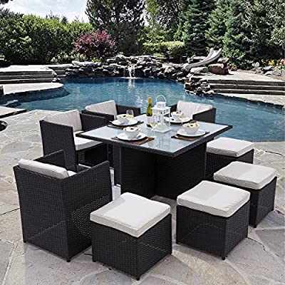 Trueshopping 'Helena' Rattan Cube Dining Set (9 Pieces) - Glass Top Table, 4 Chairs, 4 Stools & Cushions - FREE Weather Cover