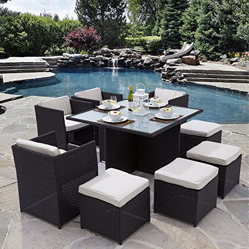 trueshopping 39 helena 39 rattan cube dining set 9 pieces glass top table 4 chairs 4 stools. Black Bedroom Furniture Sets. Home Design Ideas