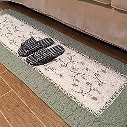 LELVA Korean-style Pastoral Style Cotton Knit Slip Mats Carpet Edge of the Bed the Bedroom Balcony Mats (50 x 135cm(20 x 53in))