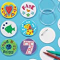 Design a Badge Kit 55mm Clear Plastic Badge with Blank Paper Inserts for Children to Personalise (Pack of 10)