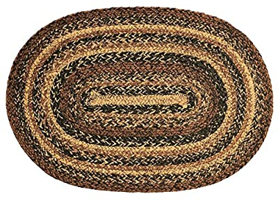 IHF Home Decor Cappuccino Design Braided Oval Rugs Jute Fabric Black with Brown and Tan Color